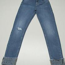 Womens Zara Skinny Stretch Distressed High Rise Cuffed Blue Jeans Size 4 W27 L27 Photo
