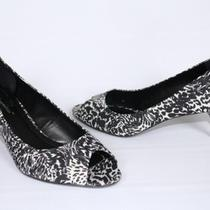 Womes's Shoes Bcbg Bcbgeneration Heather Open Toe Pumps Yuker Print 8.5 Blk Wht Photo
