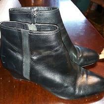 Womne's Coach Maya Black Leather Wedge Heel Booties Heels Sz 9.5 Photo