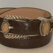 Wonderful Brighton Museum Collection Brown Moc Croc Leather Belt 37809 S 1