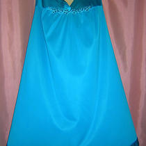 Wonderfull Aqua Blue Nylon Ballerina Length Vanity Fair Nightgownxl Photo