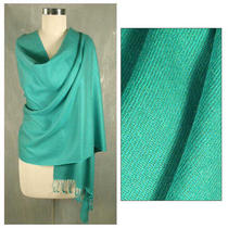 Wool and Silk 'Extravagant Aqua' Shawl (India) Photo