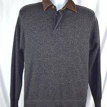 Woolrich Gray Fleck Onyx Heather Polo Front Sweater Mens M Wool Blend M6b Photo