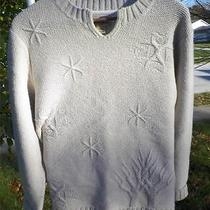 Woolrich Womens L Lambs Wool Pullover Sweater Winter Design Wearable Art Beige Photo