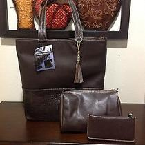 Work Street Ultimate Work Croc/faux Leather Tote Brown Color Brand New Wt-Like  Photo