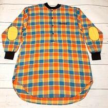 Worldwide Bloomies Bloomingdales 90s Long Sleeve Polo Shirt Medium Vtg Checkered Photo