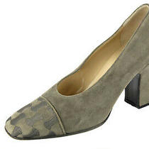 Worn 1x Gray Bally Tange-U Embroided Suede Leather Pumps 8.5 M Style Flex Italy Photo