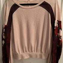 Worn 5x Free People Pink Blush Paisley Sleeve Women Pullover Sweater Top Xs Photo