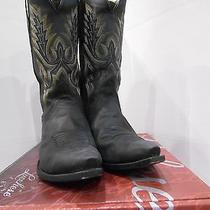 Worn Lucchese Men's Black Gill Stitch S5 Toe Boots Size 10 Ee (Retail 339) Photo