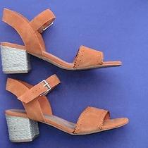Worn Once Toms Camilla Orange Suede Fashion Sandals Rrp 99 Photo