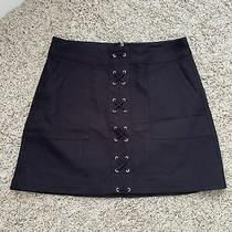 Worn Once Womens Express All Black Lace Up Mini Skirt Size 6 Photo