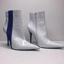 Worn Once Womens Jeffrey Campbell White Patent Boots W/ Blue Stripe Size 7.5 Photo