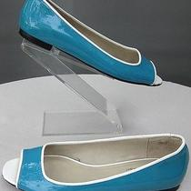 Worn Twice Sz 7 Talbots Teal Tiffany Blue Off White Peep Toe Flats Leather Photo