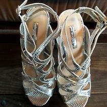 Worn Womens Silver Stiletto Platform  Stripper Heels by Designer Halston Photo