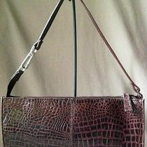 Worthington 100% Leather Gator Handbag Mahogany Silvertone Hardware 6x12