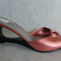 Worthington Bronze Rose Metallic Cut-Out Wedge Sandal Slip-on Shoes 8.5 Layla Photo