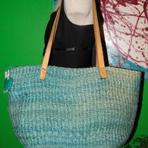 Woven Aqua Blue Green Summer Tote Straw Jute Leather Handbag Purse Shoulder Bag Photo