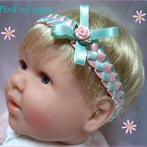 Woven Satin Ribbon Baby Reborn Doll Headband Pink White Red Yellow Preemie-12m Photo