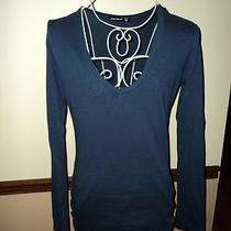 Wow Alternative Sz L Navy Sleek v Neck Long Sleeve Shirt Anthropologie Photo