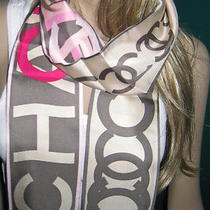 Wow New Auth 100% Chanel Silk Scarf Narrow Cc Pink Cream Chain Necklace Ptrn Photo