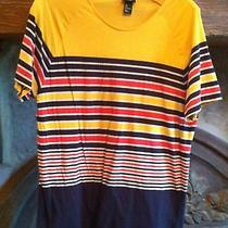 Wow Women Sz Large Bright Colorful Striped Cotton Top by h&m Cute Photo