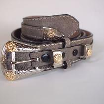 Wrangler Usa Cowboy Bling Fancy Grey Rough Out Leather Belt Country Western  Photo