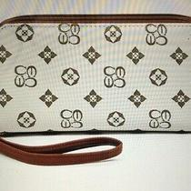 Wristlet Monogrammed Double Zippy Wallet Nwt Ivory Tan Designer Look New Photo
