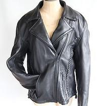 X Element Black Long-Sleeve Full-Zip Leather Motorcycle Jacket Womens Size Large Photo