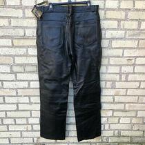 X Element Men's Biker Black Leather Jeans 36