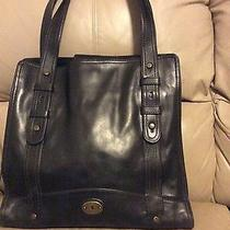 X-Large Black Leather Shopper Tote Purse  Computer Bag by Fossil Photo