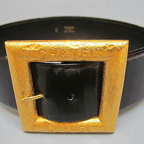 X-Small 100% Auth Vintage Chanel Black Patent Leather Belt W/ Gold Square Buckle Photo