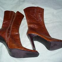 X Steve Madden Brisa Brown Leather Fashion Boots Womens 6 B Photo