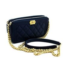 X32 Chanel Authentic Boy Navy Caviar Wallet on Chain Woc Double Zip Shoulder Bag Photo