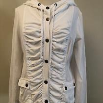 Xcvi Ruched Front White Snap Pockets Hooded Lightweight Stretch Cotton Jacket M Photo