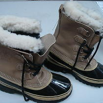 Xe-New Sorel Black & Tan Caribou Insulated Leather & Rubber Lace Up Boots-Sz 9 Photo