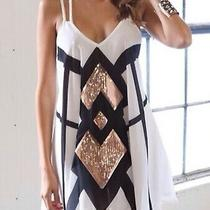 Xenia Boutique Black White and Rose Gold Sequin Mini Dress. Size 2 Photo