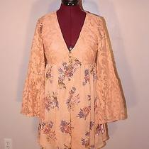 Xhilaration Vintage Blush Lace Bell Sleeve & Chiffon Floral Tunic Mini Dress Nwt Photo