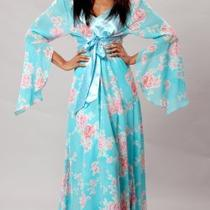 Xl/1x/2x Aqua Floral Chiffon Long Satin Robe W/full Sweep Plus Size Lingerie Photo