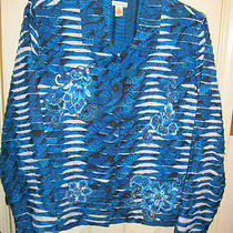 Xl Blazer Jacket Bechamel New Cotton Blend Blue Aqua White Long Sleeves Photo