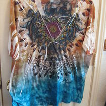 Xl Blouse Top  Liz & Me New Tie Dye Brown Blue Aqua Green Short Sleeves Photo