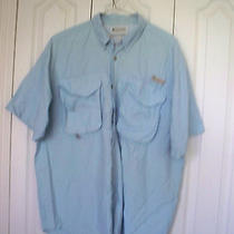 Xl  Fishing  Blue Columbia  Sportswear Fishing  Short Slv Button Vent Shirt  Photo