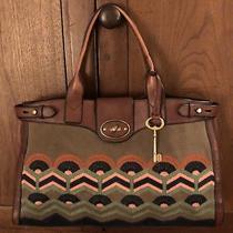 Xl Fossil Vintage Embroidered Rare Handbag Tote Photo
