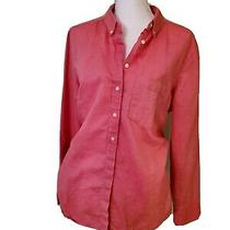 Xl Gap Salmon Pink Red Collared Button Down Long Sleeve Shirt Breast Pocket Very Photo
