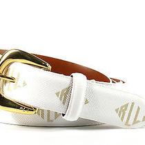 Xl - Lauren Ralph Lauren Signature Logo Print Belt - Optic White/gold 412178283 Photo