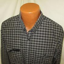 (Xl) Men's Express Fitted Slim Fit Button Down Black Gray Plaid Photo