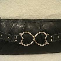 Xoxo Black Clutch With  Silver Hearts Photo