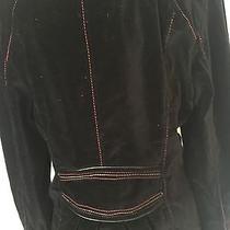 Xoxo Black Velvet Jacket Coat Animal Print Lining Red Yellow Stitching Photo