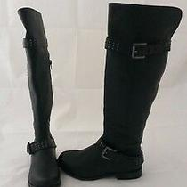 Xoxo Brianna Black Faux Leather Knee High Boots Studded Womens Size 6 Medium B M Photo
