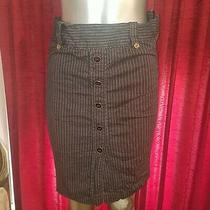 Xoxo Collection Navy Striped Pencil Skirt Size 6 Pin Up Office Classic Business Photo