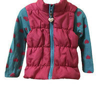 Xoxo Girls 3t Long-Sleeved Blue Shirt W/ Pink Hearts &  Lightweight Zip-Up Vest Photo